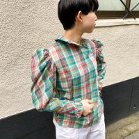 1970s Puff sleeve plaid blouse