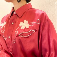 70s Satin western shirt / Pink