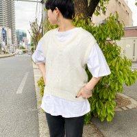 USA knit vest / WHT