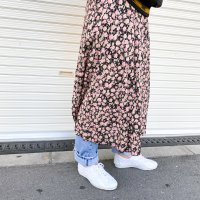 SAG HARBOR Rose pattern rayon skirt