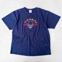 U.S.NAVY skull fire embroidery T-shirt