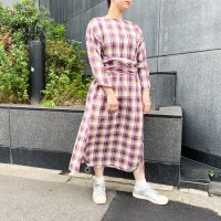 AWA - slit sleeve one piece / plaid