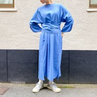 AWA - slit sleeve one piece / linen blue