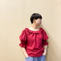 Balloon sleeve ruffle blouse / PNK