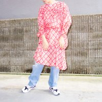 QFD - Bias check cotton gather dress / Vermillion<img class='new_mark_img2' src='https://img.shop-pro.jp/img/new/icons10.gif' style='border:none;display:inline;margin:0px;padding:0px;width:auto;' />