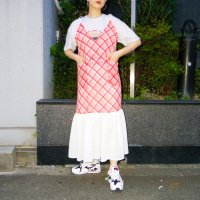 QFD - Bias check cottn camisole dress / Vermillinon<img class='new_mark_img2' src='https://img.shop-pro.jp/img/new/icons10.gif' style='border:none;display:inline;margin:0px;padding:0px;width:auto;' />
