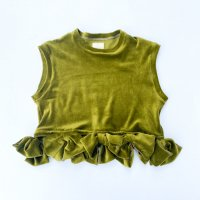 【30%OFF】QFD - Velour ribbon top / O.Green