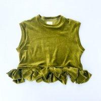 QFD - Velour ribbon top / O.Green