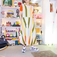 QFD - Striped sleeveless circular dress 1.<img class='new_mark_img2' src='https://img.shop-pro.jp/img/new/icons10.gif' style='border:none;display:inline;margin:0px;padding:0px;width:auto;' />
