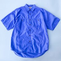 1980s BRITTANIA cotton s/s shirt / BLU
