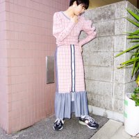 QFD - Plaid switching long skirt 2.<img class='new_mark_img2' src='https://img.shop-pro.jp/img/new/icons10.gif' style='border:none;display:inline;margin:0px;padding:0px;width:auto;' />