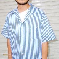Striped open collar s/s shirt