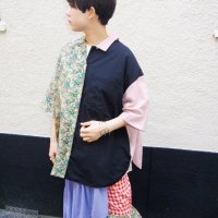 AWA - 360 open shirt / BLK × PNK