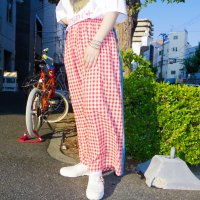 AWA - Remake denim pants / gingham red