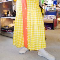 【50%OFF】QFD - Gingham check long skirt / YEL<img class='new_mark_img2' src='https://img.shop-pro.jp/img/new/icons20.gif' style='border:none;display:inline;margin:0px;padding:0px;width:auto;' />