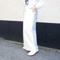 AWA - remake denim pants / raw silk wht