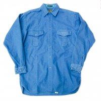 1980s Eddie Bauer heavy cotton shirt / DULL BLU