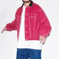 1980s STRUCTURE JEANSWEAR QUILTING DENIM JKT / RED