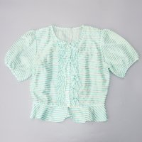 STRIPED FRILL S/S BLOUSE