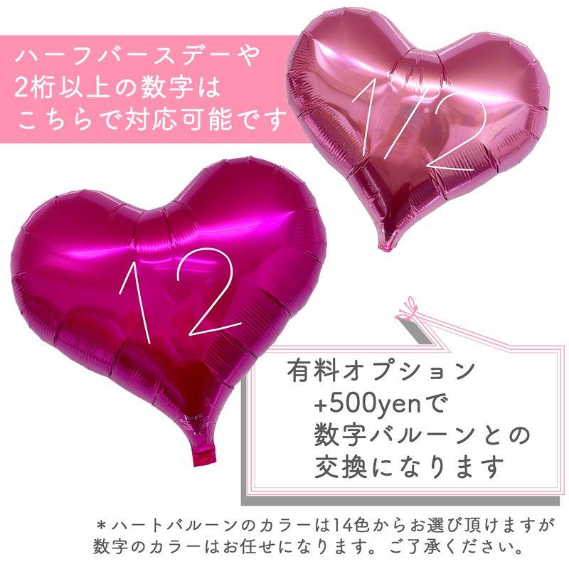 【有料オプション】ナンバー加工ハートバルーン(入れ替え用)
