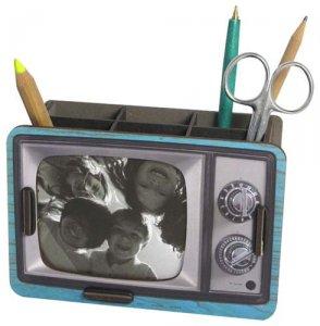 WERKHAUS社 写真&ペン立て〈ブラウン管テレビ/ブルー〉