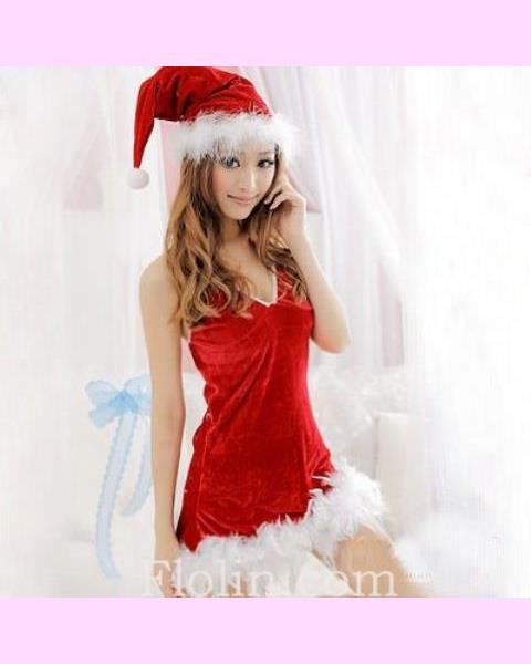 クリスマスに最適!サンタクロースのふわふわミニワンピ