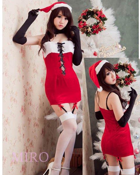 クリスマスに最適!サンタクロースのフロント編み上げガーター付きミニワンピ