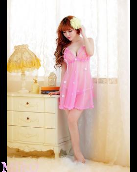 お花モチーフが乙女なバスト盛りベビードール(ピンク)