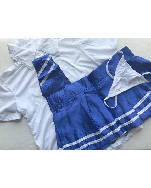[追加入荷予定なし]コバルトブルーの制服コスプレ