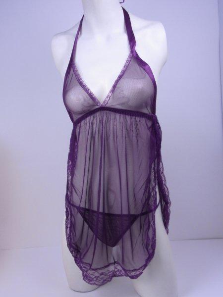 サイドスリットがセクシーな紫のシースルーランジェリー トルソー全身