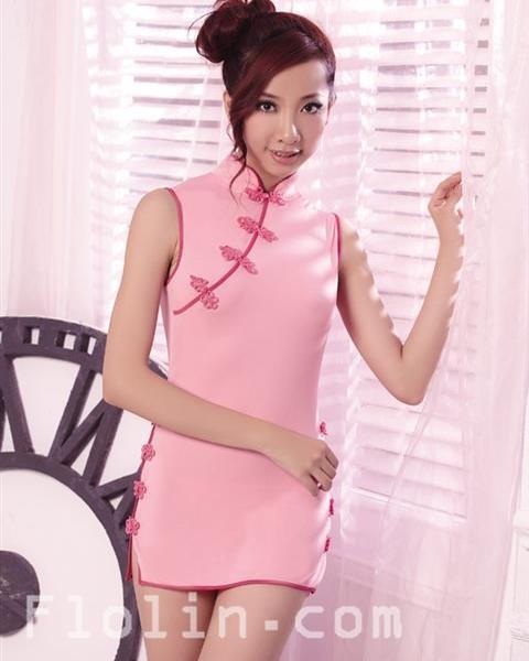 [販売終了]大胆ミニスカートのピンクのチャイナ服コスプレ