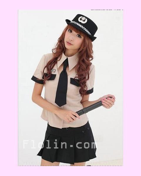 [追加入荷予定なし]ベージュのシャツとミニスカートの婦人警官コスプレ