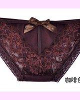 [追加入荷予定なし]バックリボンが付いた刺繍入りショーツ(ブラウン)
