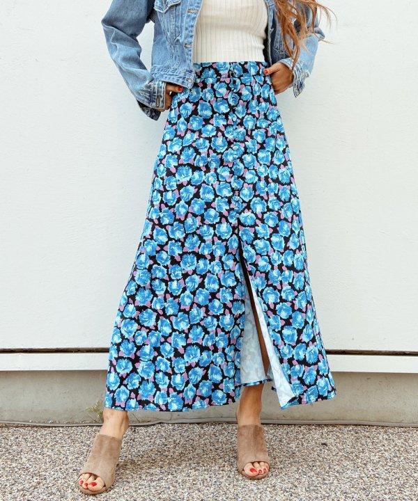 blue flowerロングスカート