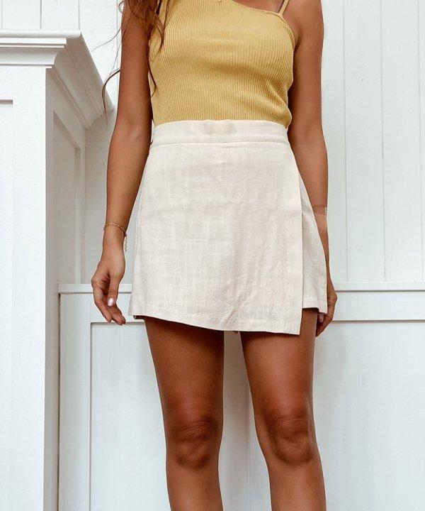 リネン風キュロットスカート