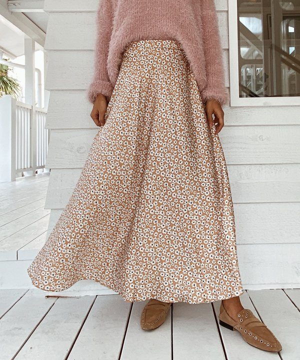 フラワーバックジップスカート