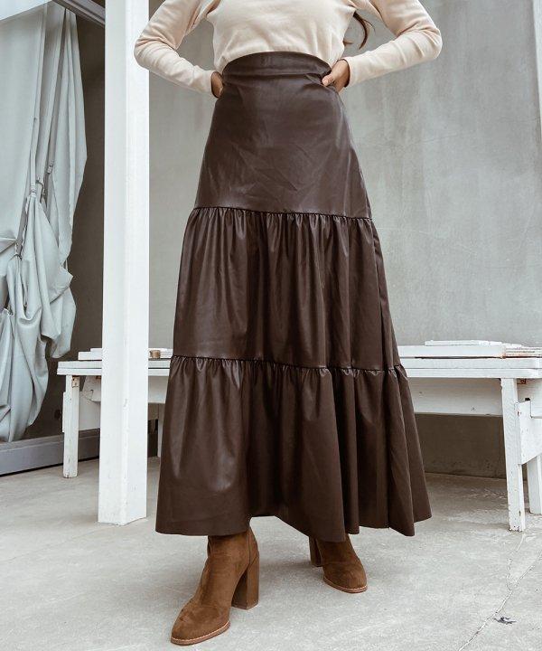 レザーフリルロングスカート