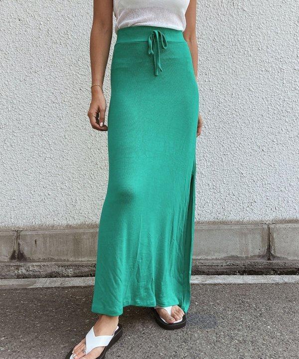 カラーリブロングスカート