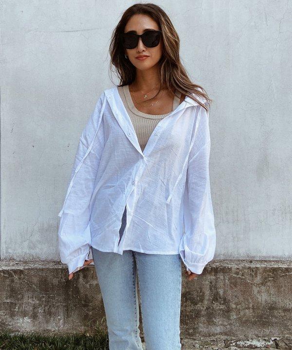 フード付きシースルーシャツ