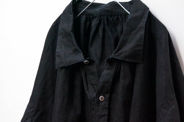 no.265 Pull over black indigo linen smock