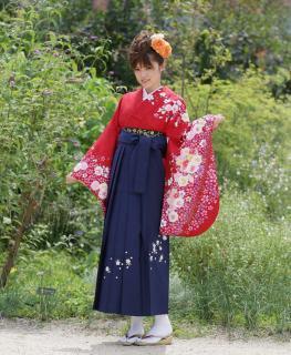 卒業式袴セット (赤・小花)