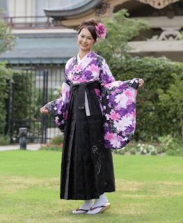 卒業式袴セット (紫・白花)