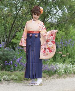 卒業式袴セット (オレンジ・花)