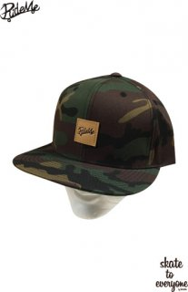 Leather emblem SNAP BACK CAP(Camo/Brown)