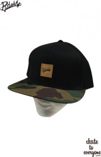 Leather emblem SNAP BACK CAP(Blackcamo/Brown)