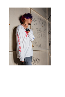 LOGO L/S Tee(RED/BLUE)WHITE