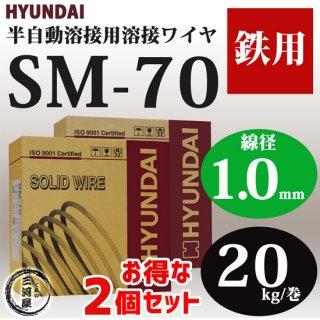 現代(ヒュンダイ) 低電流薄板用溶接ワイヤSM-70(SM70) 線径1.0mm 20kg/巻 お得な2個セット
