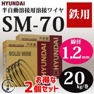 現代(ヒュンダイ) 低電流薄板用溶接ワイヤSM-70(SM70) 線径1.2mm 20kg/巻 お得な2個セット