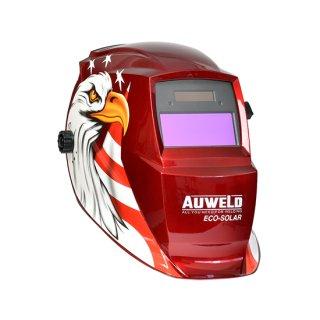 遮光度の調節ができる自動遮光ヘルメット AUWELD 赤(イーグルレッド) アーク溶接用 半自動溶接用 TIG溶接用 遮光面