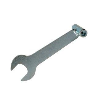 スパナ式開閉ハンドル(高圧ガスボンベのバルブ開閉機能、調整器の取付機能)